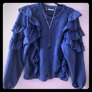 Navy frilly crew neck. Dress up or dress down.
